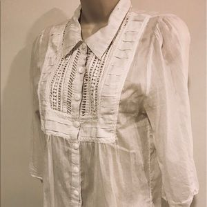 Trinity Anthropologie Lace button Cotton/Silk top